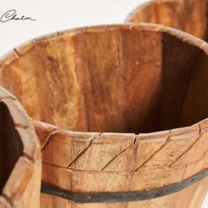 Found Charm Wooden Barrel